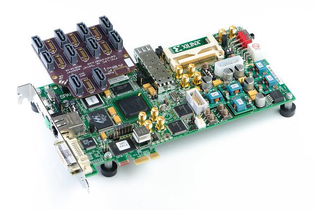 FMC-LPC to SATA adapter board - installed on Xilinx SP605 board