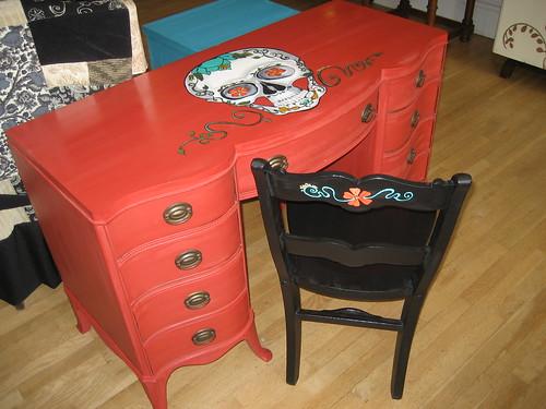 Black Flower Chair with Sugar Skull Desk
