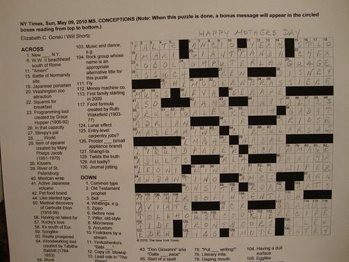 NYT Sunday Puzzle 5/9/10 - Celebrating Mothers' Day