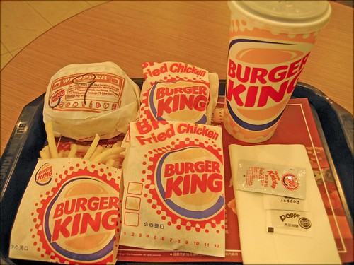 burger king coke, fried chicken, french fries, and whopper with cheese