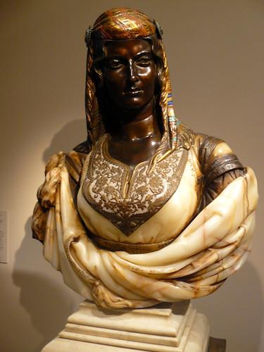 Charles-Henri-Joseph Cordier, Jewish Woman of Algiers, 1862. This Frenchman was not afraid of colour nor of mixing materials. This bust is made of Algerian onyx-marble, bronze, gilt bronze, enamel, amethyst and white marble.