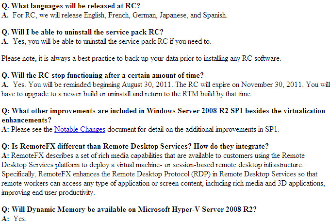 Windows 7 & Windows 2008 R2 SP1 RC FAQ