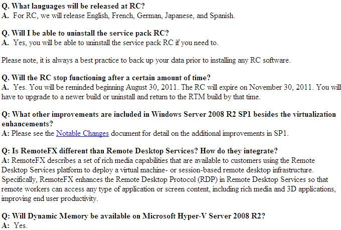 Windows 7 & Windows 2008 R2 SP1 RC FAQ