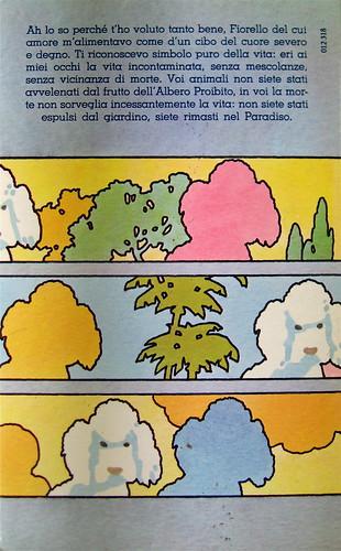 """Carlo Coccioli, Requiem per un cane, Rusconi 1977, """"sovraccoperta di Piero Crida""""; q di cop. (part.)"""