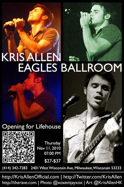 Kris Allen Promo Art – Eagles Ballroom, Milwaukee, WI