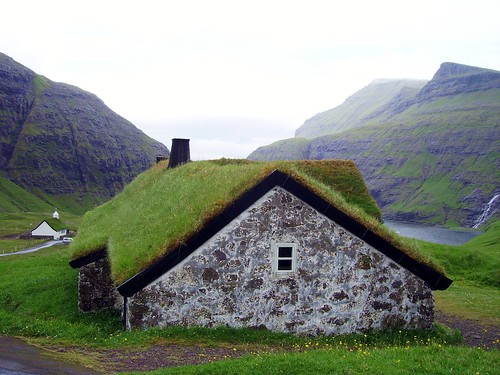 faroe islands faroese house grass roof cute countryside cottage
