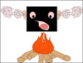 computer on fire clipart