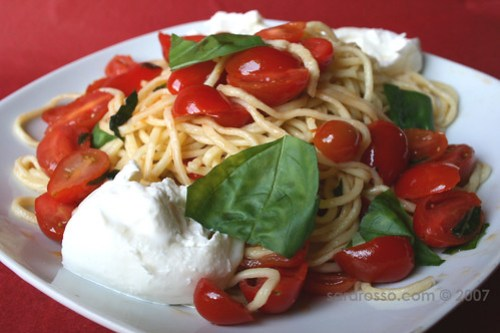 Fresh Pasta with Basil, Tomato and Burrata