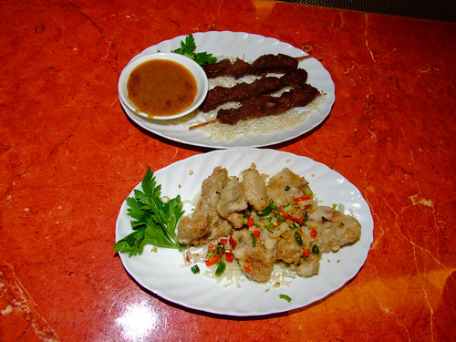 Oriental Expression - beef satay and pork chop