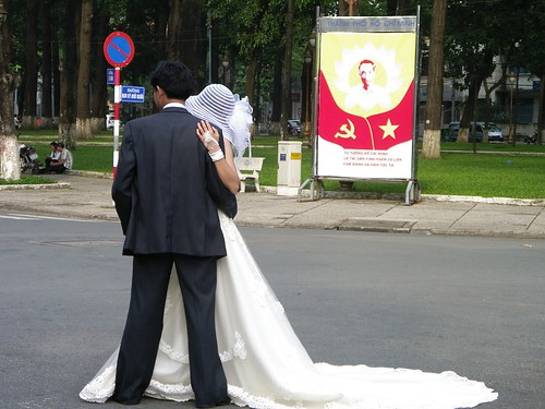 Wedding with propaganda backdrop