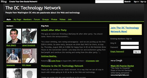 Screenshot of the DC Technology Network Ning Site