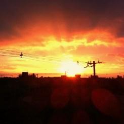 ベランダから見た夕日