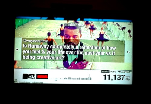 My Tweet on TV via @MTV & @KanyeWest during the #askkanye segment with @RealSway