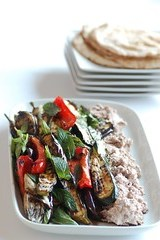 char grilled veg with walnut & white bean puree