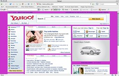 Yahoo! in magenta. If you forget to set your site's background color, your visitors may do it for you.