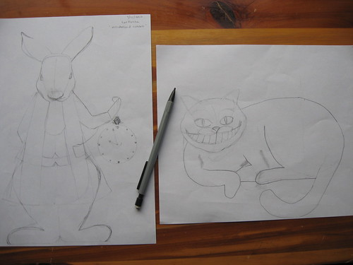 sketches - cheshire  and rabbit