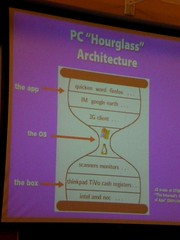 Picture by Daisy Pignetti of Jonathan Zittrain's slide on the Internet and 'hourglass architecture'; click for the full version on Flickr