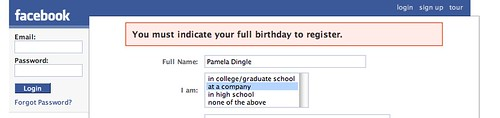 Facebook DOB error