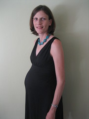 Photo of Pregnant Katherine all dressed up in black for a night on the town