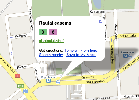 Helsinki transit information on Google Maps