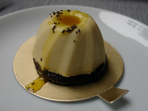 Baked Lemon Cheese with Passion Fruit Coulis