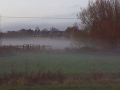 Mist fills up the hollow Newland mill