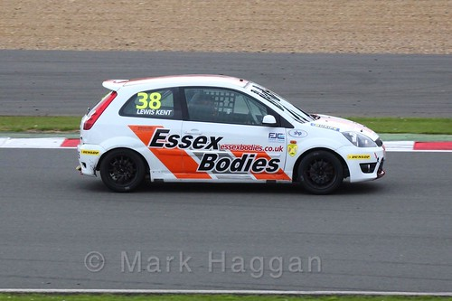 Lewis Kent in the BRSCC Fiesta Junior Championship at Silverstone, April 2016