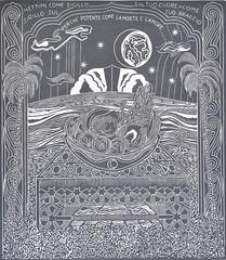 F. DE MARINIS_Offerta rituale, xilografia, 2014