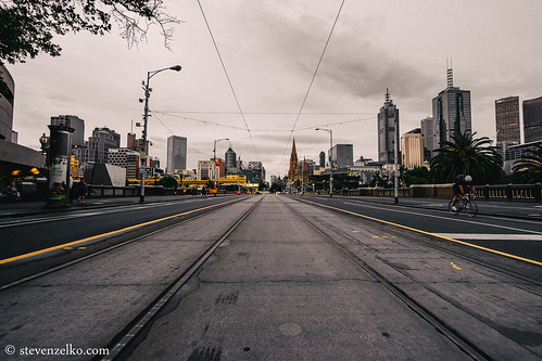 St Kilda road into the CBD