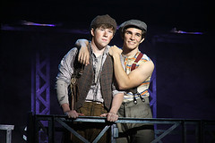 "Zachary Sayle (Crutchie) and Joey Barreiro (Jack Kelly) in the Broadway Sacramento  presentation of ""Newsies"" at the Sacramento Community Center Theater April 12 – 17, 2016.  ©Disney. Photo by Shane Gutierrez."