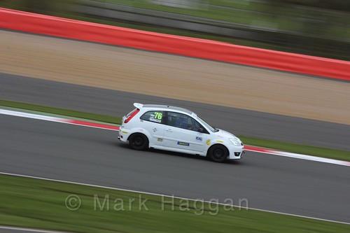 Carlito Miracco in the BRSCC Fiesta Junior Championship at Silverstone, April 2016