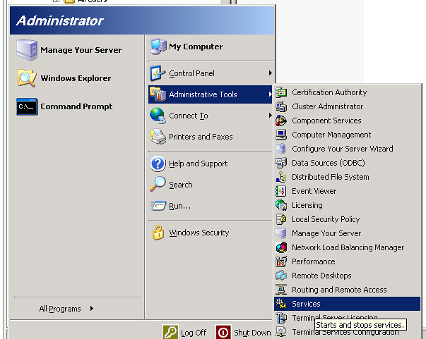 Administrative Tools -> Services