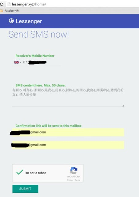 Free SMS Service from lessenger