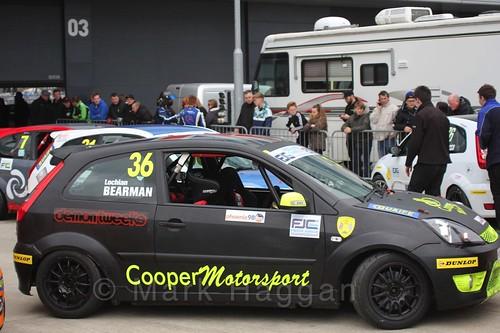 Lochlan Bearman in the BRSCC Fiesta Junior Championship at Silverstone, April 2016
