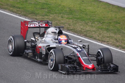 Romain Grosjean in the Haas in Formula One Winter Testing 2016