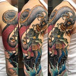 Pulled an all dayer on Dan today. Freehand and loads of fun. Thankyou! #japanesetattoo #japanesesleeve #warrior #dragon #waves #colourtattoo