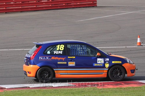 Nicholas Pope in the BRSCC Fiesta Championship at Silverstone, April 2016