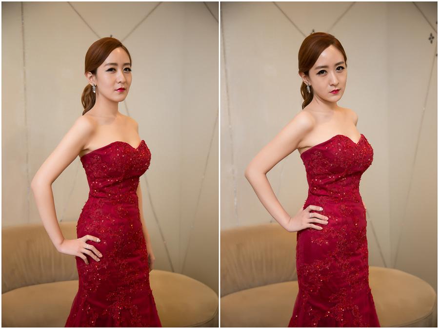 新秘Yuki│新秘推薦│紅色禮服│低馬尾│油頭│新娘髮型