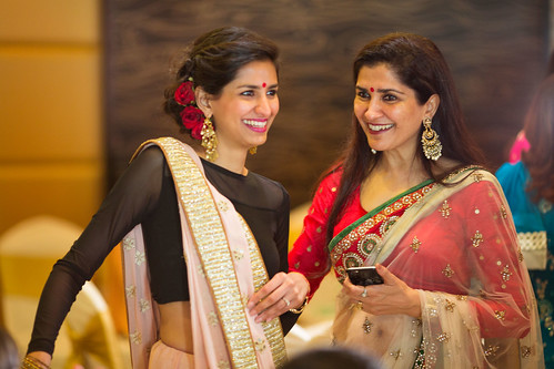 Saahil's mother and sister, with smiles at the end of the exuberant engagement ceremony!