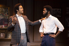 """Jesse Nager (Smokey Robinson) and Julius Thomas III (Berry Gordy) in the Broadway Sacramento presentation of """"Motown The Musical"""" at the Sacramento Community Center Theater May 18 – 29, 2016. Photo by Joan Marcus."""