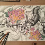 Calling this done. Ink, prismacolor and charcoal on paper. Loads of fun! #japanese #japanesetattoo #dragon #chrysanthemum #irezumi