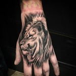 My evenings work on one of my best friends Andy. Thankyou mate! #lion #liontattoo #blacktattoo #blackandgrey #handtattoo