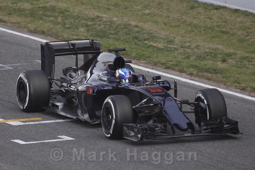 Max Verstappen in his Toro Rosso in Formula One Winter Testing 2016