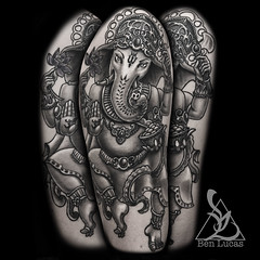 Black-and-Grey-Ganesha-half-sleeve-tattoo-on-upper-arm-by-ben-lucas-at-eye-of-jade-in-chico-ca