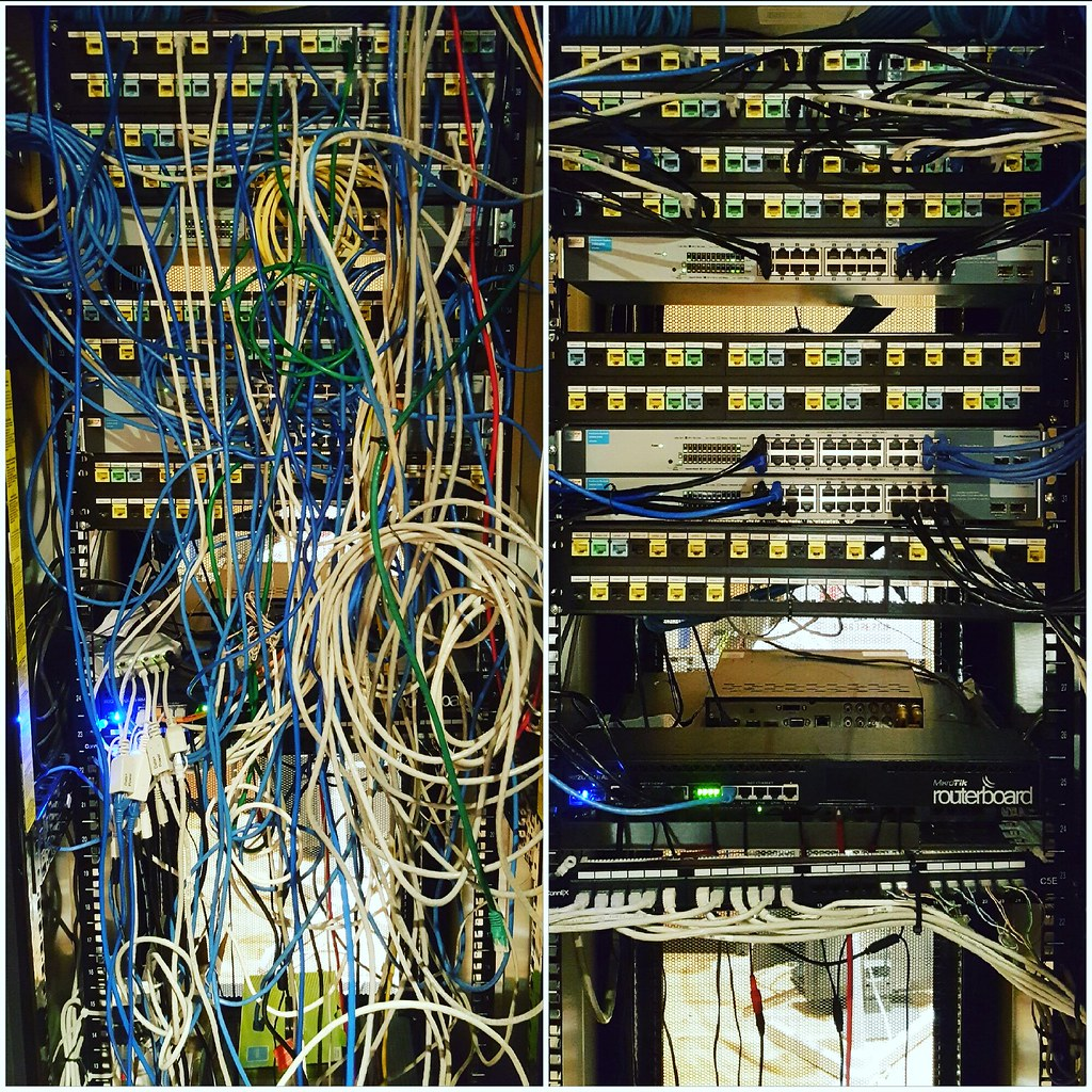 hight resolution of a recent networking clean up etor networks did check out the before after
