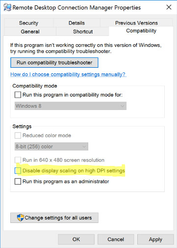 Remote Desktop Connection Manager Property -> Compability Disable display scaling on high DPI setting