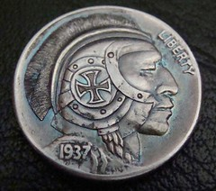 """'The Brave Knight' Hobo nickel/coin carving • <a style=""""font-size:0.8em;"""" href=""""http://www.flickr.com/photos/72528309@N05/24015454233/"""" target=""""_blank"""">View on Flickr</a>"""