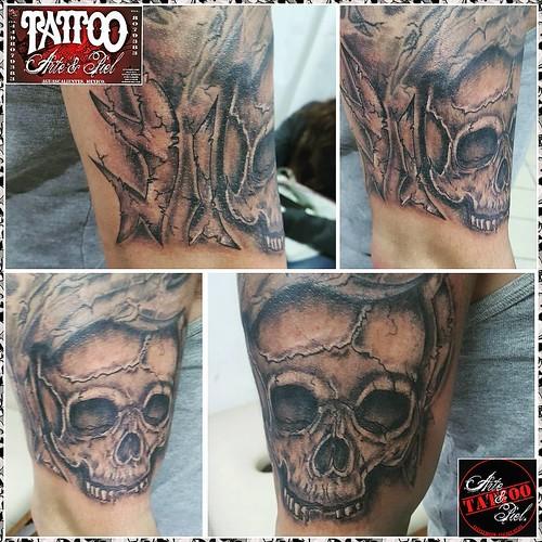 Skull Calavera Brazo Sombras Blackandgrey Tattooarteypiel