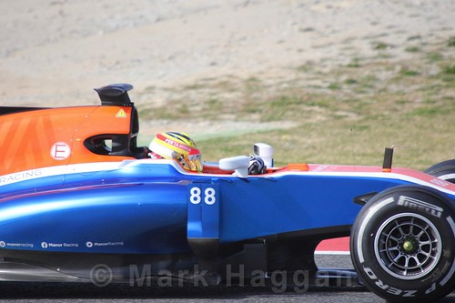 Rio Haryanto in his Manor car in Formula One Winter Testing 2016