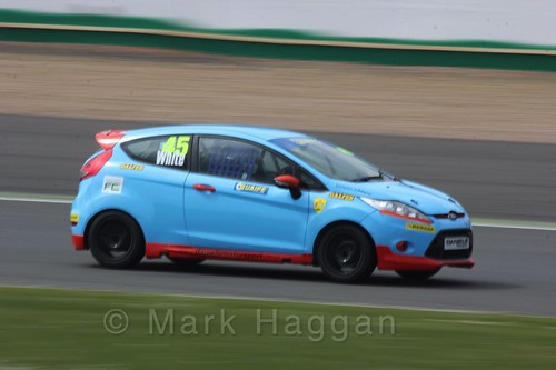 Jamie White in the BRSCC Fiesta Championship at Silverstone, April 2016